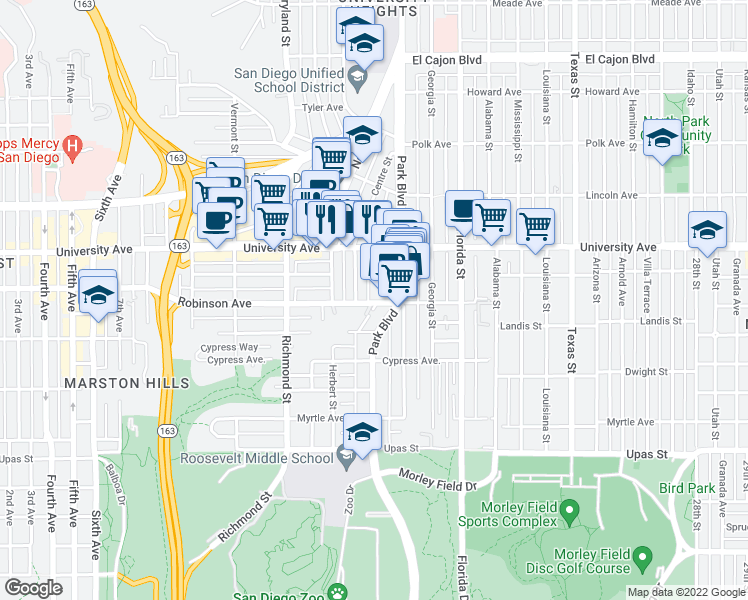 map of restaurants, bars, coffee shops, grocery stores, and more near 1740 Robinson Avenue in San Diego