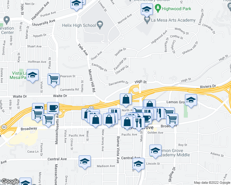 map of restaurants, bars, coffee shops, grocery stores, and more near 7555 High St in La Mesa