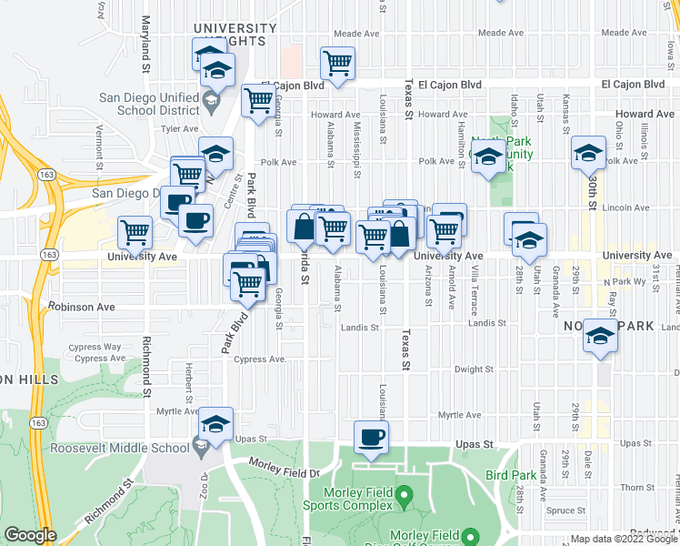 map of restaurants, bars, coffee shops, grocery stores, and more near 3836 Alabama Street in San Diego
