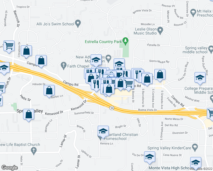 map of restaurants, bars, coffee shops, grocery stores, and more near Campo Rd & Conrad Dr in Casa de Oro-Mount Helix