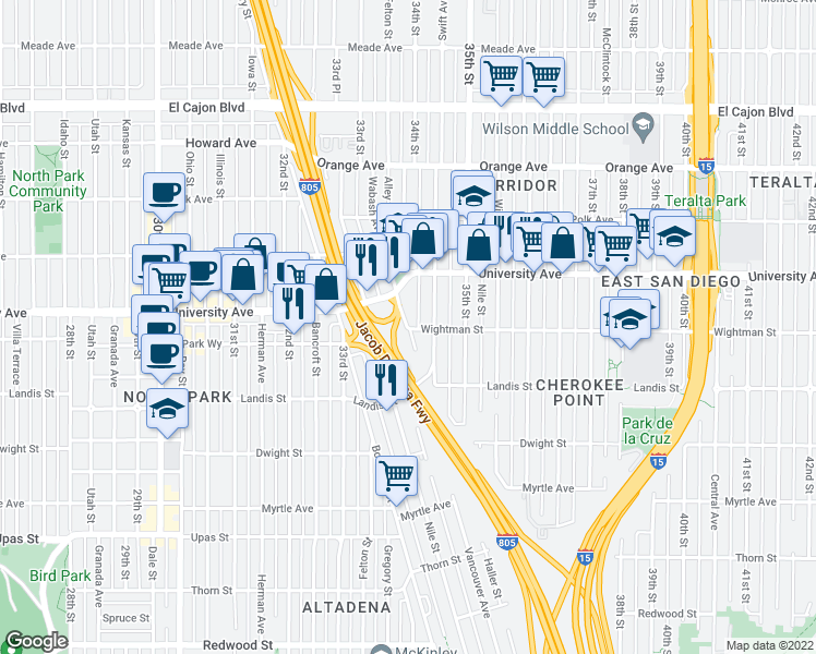 map of restaurants, bars, coffee shops, grocery stores, and more near Laverne Place in San Diego
