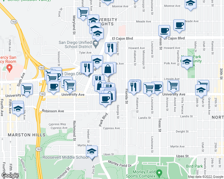map of restaurants, bars, coffee shops, grocery stores, and more near 3948 Georgia Street in San Diego