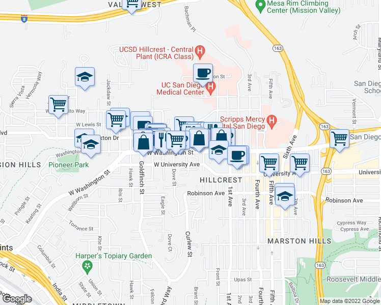 map of restaurants, bars, coffee shops, grocery stores, and more near W Washington St & Brant St in San Diego