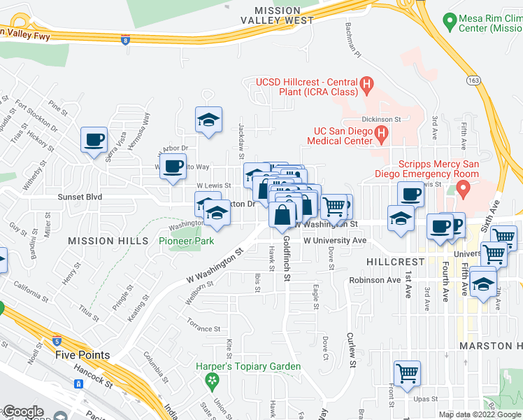 map of restaurants, bars, coffee shops, grocery stores, and more near 1000-1098 Fort Stockton Drive in San Diego