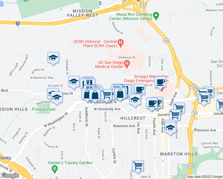 map of restaurants, bars, coffee shops, grocery stores, and more near 4050 Brant Street in San Diego