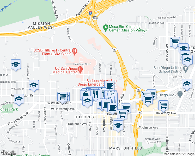 map of restaurants, bars, coffee shops, grocery stores, and more near 302 Arbor Dr in San Diego