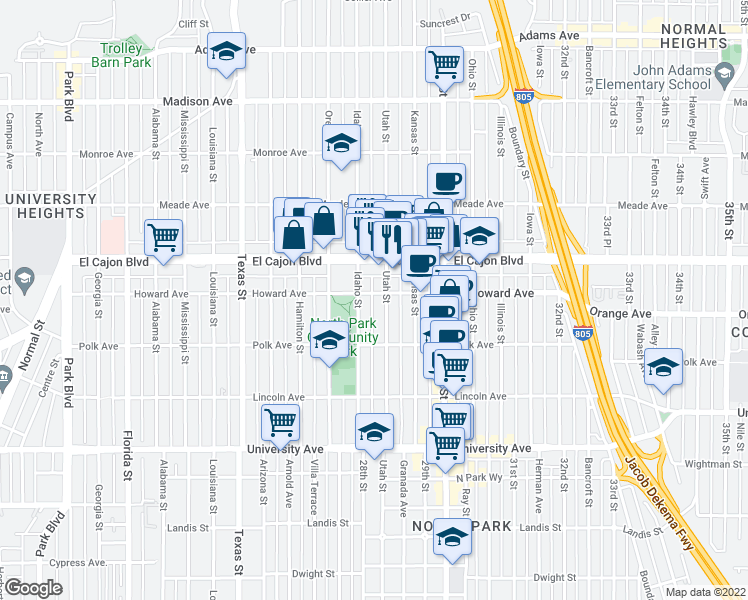 map of restaurants, bars, coffee shops, grocery stores, and more near 2827 Howard Ave in San Diego