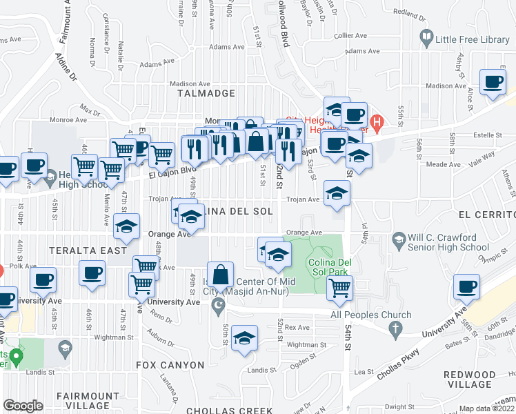 map of restaurants, bars, coffee shops, grocery stores, and more near 4274 51st Street in San Diego
