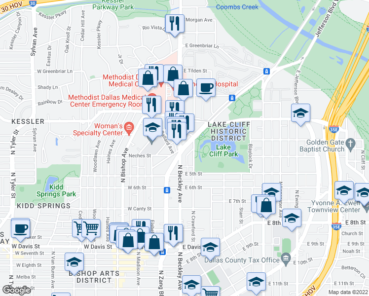 map of restaurants, bars, coffee shops, grocery stores, and more near 1112 North Zang Boulevard in Dallas