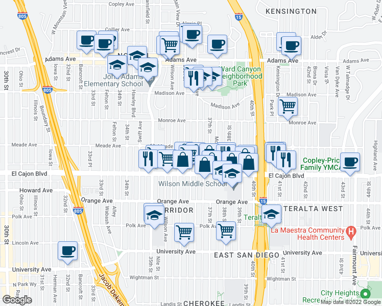 map of restaurants, bars, coffee shops, grocery stores, and more near 3683 Meade Ave in San Diego