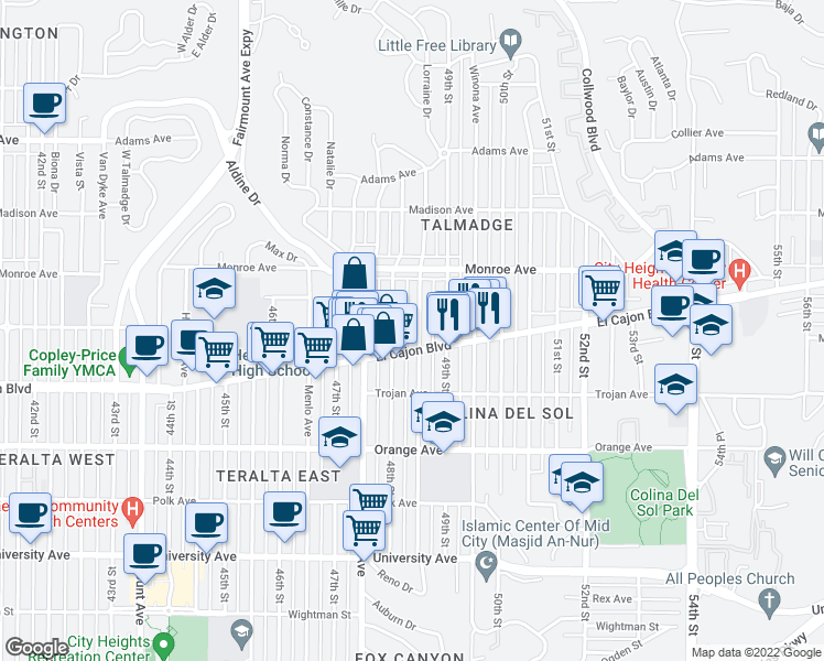 map of restaurants, bars, coffee shops, grocery stores, and more near 4424 Estrella Avenue in San Diego