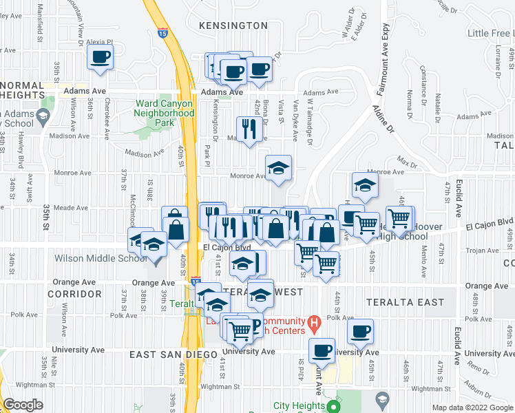 map of restaurants, bars, coffee shops, grocery stores, and more near 4403 42nd Street in San Diego