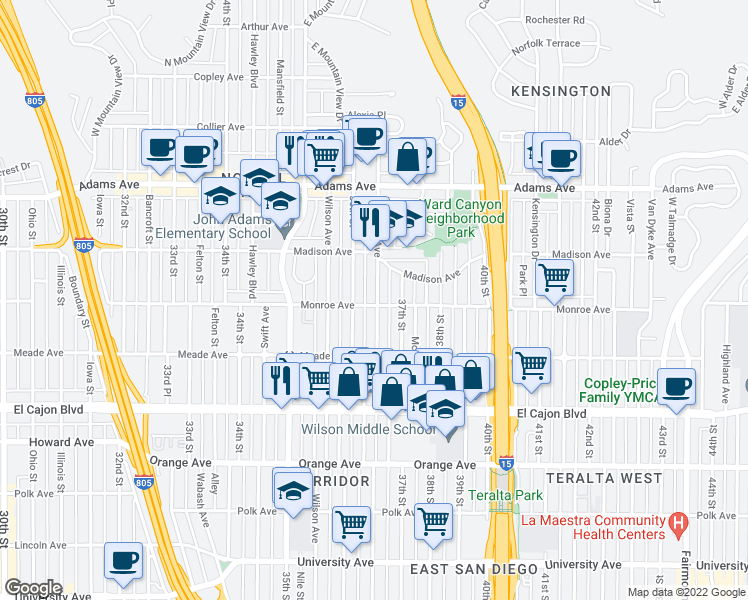 map of restaurants, bars, coffee shops, grocery stores, and more near 3628 Monroe Avenue in San Diego