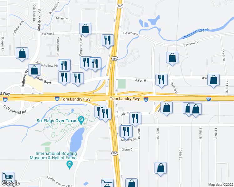 map of restaurants, bars, coffee shops, grocery stores, and more near 1000 Texas 360 Frontage Rd in Arlington