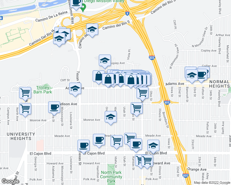 map of restaurants, bars, coffee shops, grocery stores, and more near 4671 Idaho St in San Diego