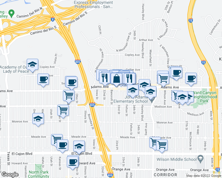 map of restaurants, bars, coffee shops, grocery stores, and more near Adams Avenue in San Diego