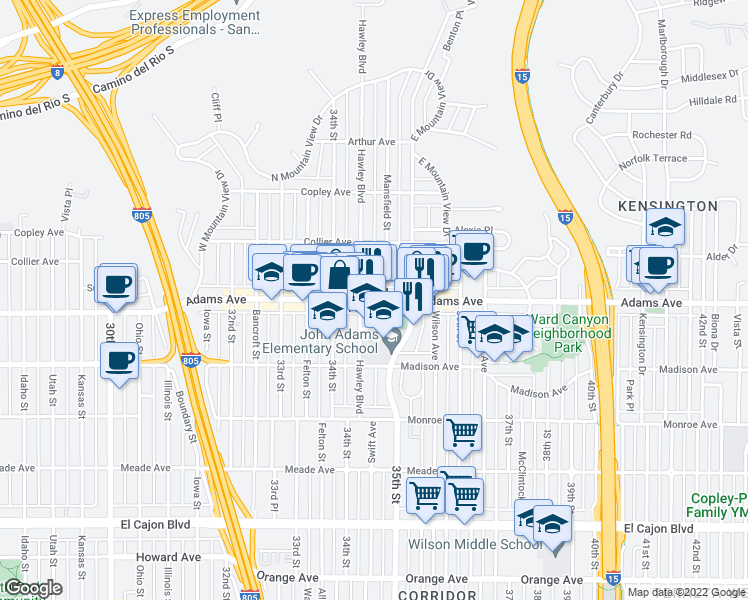 map of restaurants, bars, coffee shops, grocery stores, and more near 3450 Adams Ave in San Diego