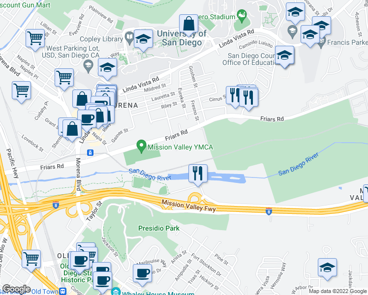 map of restaurants, bars, coffee shops, grocery stores, and more near 5705 Friars Road in San Diego