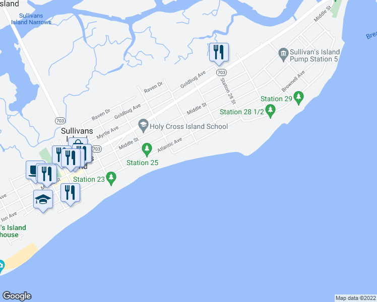 map of restaurants, bars, coffee shops, grocery stores, and more near 2619 Bayonne Street in Sullivan's Island