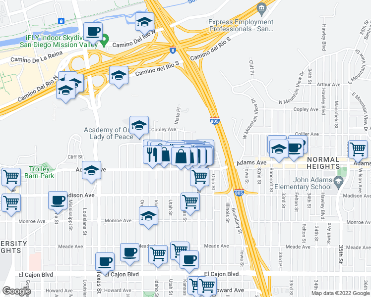 map of restaurants, bars, coffee shops, grocery stores, and more near 2877 Collier Avenue in San Diego