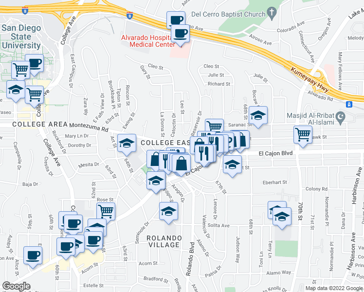 map of restaurants, bars, coffee shops, grocery stores, and more near 6585 Montezuma Road in San Diego