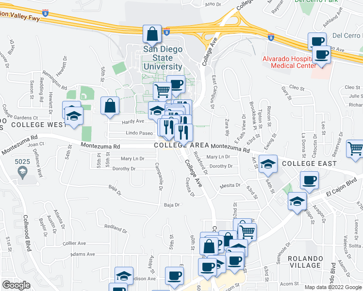 map of restaurants, bars, coffee shops, grocery stores, and more near College Ave & Montezuma Rd in San Diego