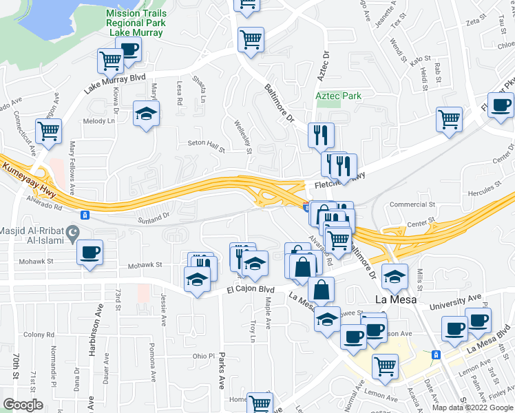 map of restaurants, bars, coffee shops, grocery stores, and more near Alvarado Rd & Guava Ave in La Mesa