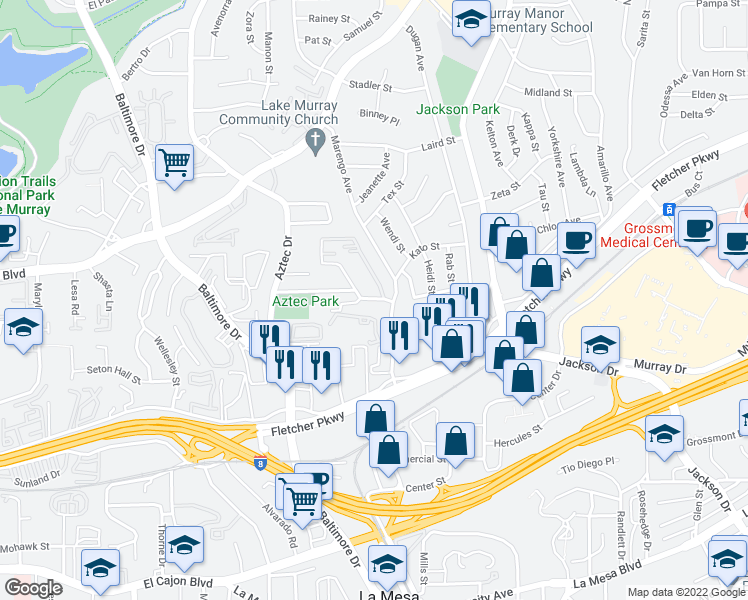 map of restaurants, bars, coffee shops, grocery stores, and more near 5500 Morro Way in La Mesa
