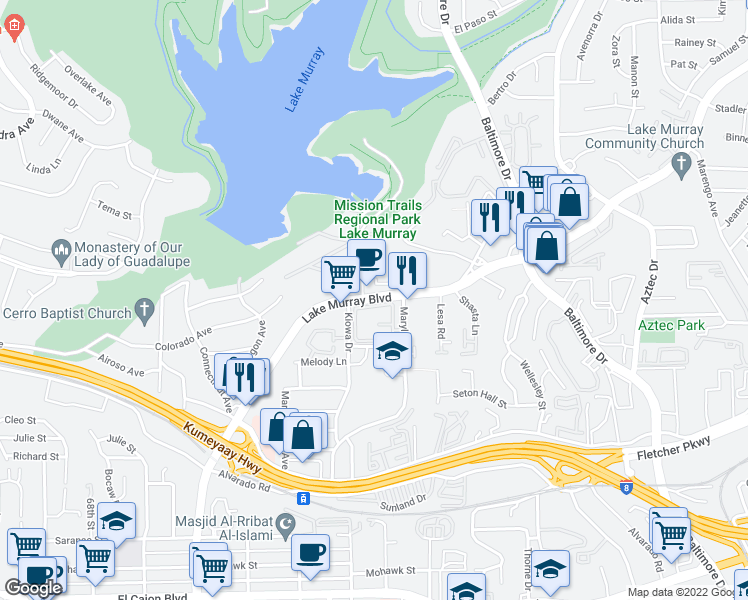 map of restaurants, bars, coffee shops, grocery stores, and more near 5419-5423 Lake Murray Boulevard in La Mesa