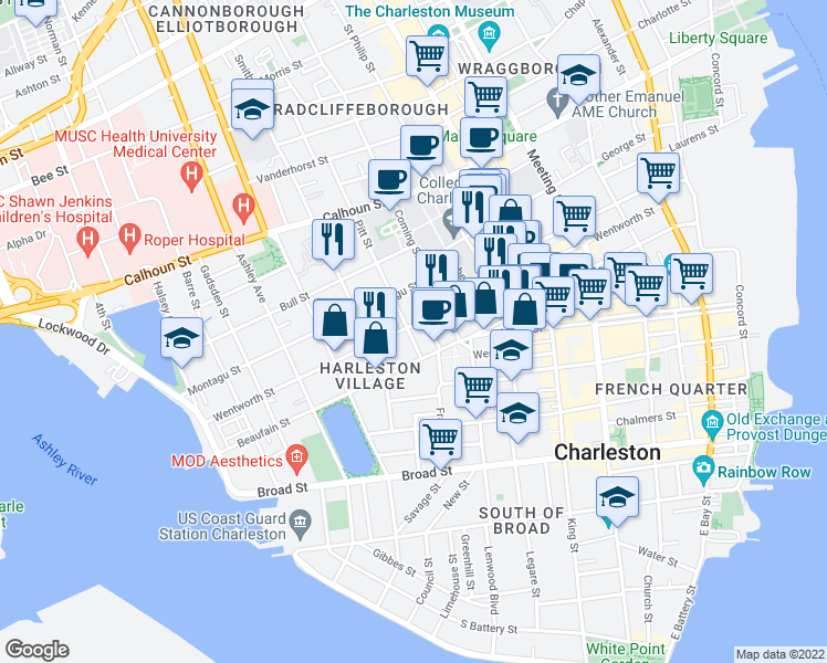 map of restaurants, bars, coffee shops, grocery stores, and more near 129 Wentworth St in Charleston