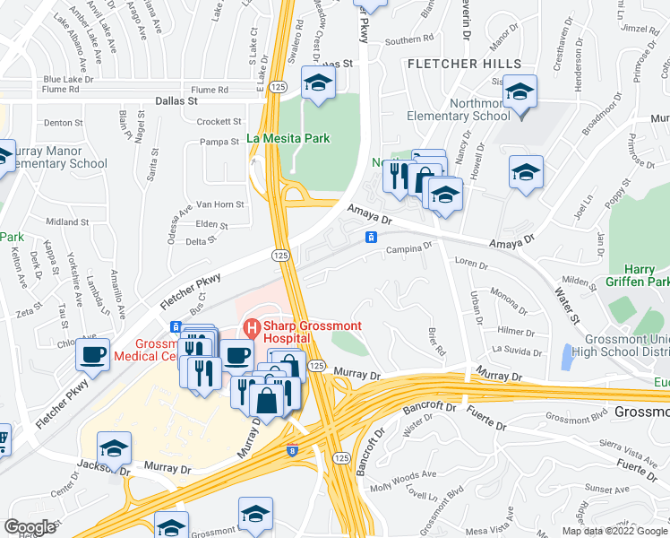 map of restaurants, bars, coffee shops, grocery stores, and more near 9055 Campina Drive in La Mesa