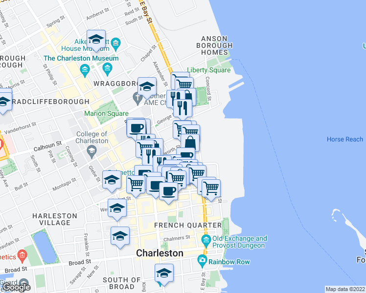map of restaurants, bars, coffee shops, grocery stores, and more near 5 Wentworth Street in Charleston