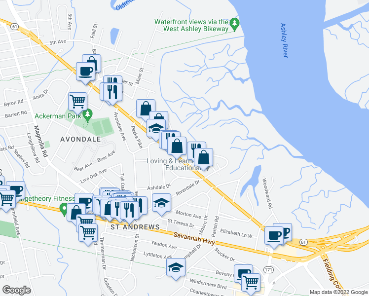 map of restaurants, bars, coffee shops, grocery stores, and more near 701 St Andrews Blvd in Charleston