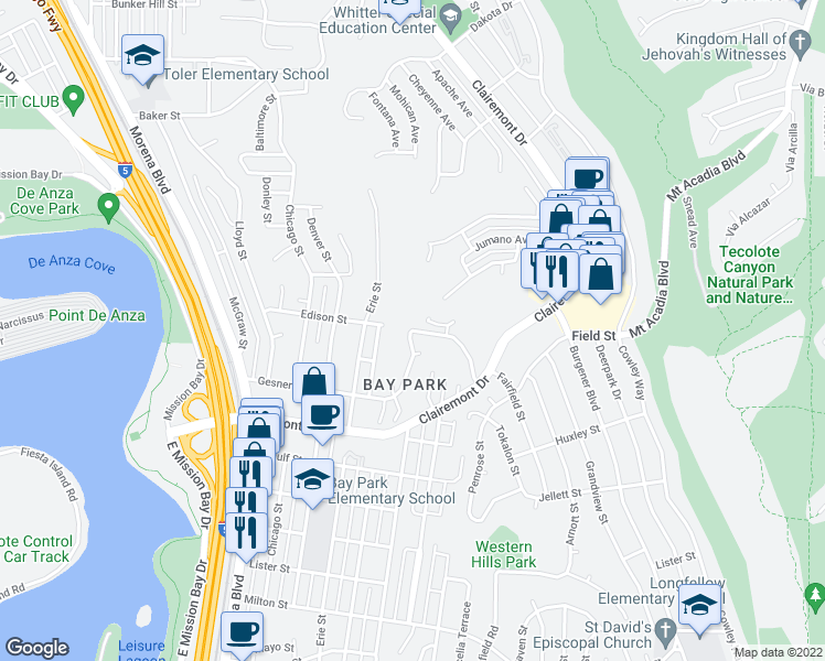 map of restaurants, bars, coffee shops, grocery stores, and more near Gesner St & Edison St in San Diego
