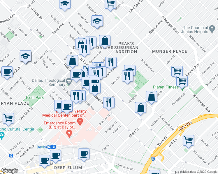 map of restaurants, bars, coffee shops, grocery stores, and more near North Peak Street & Junius Street in Dallas