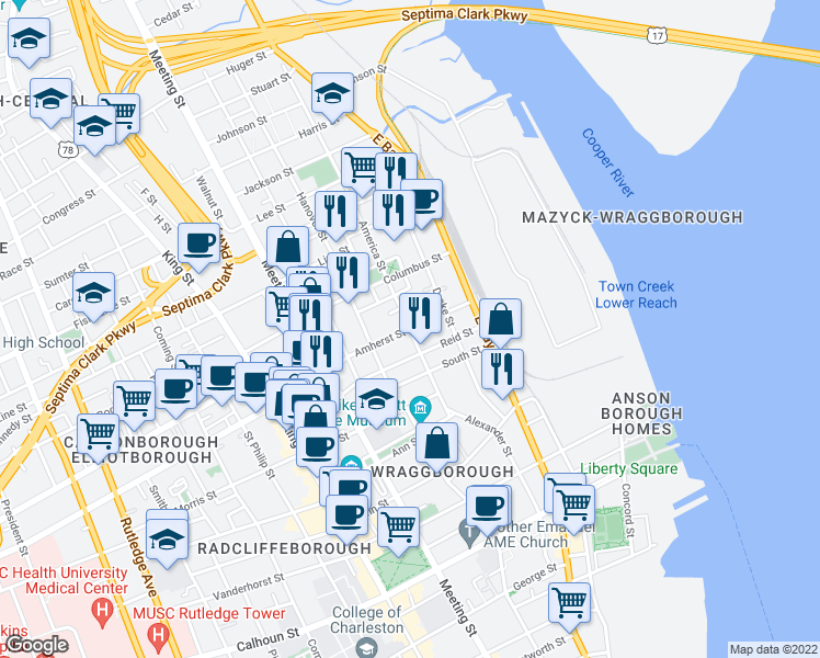 map of restaurants, bars, coffee shops, grocery stores, and more near Amherst St in Charleston