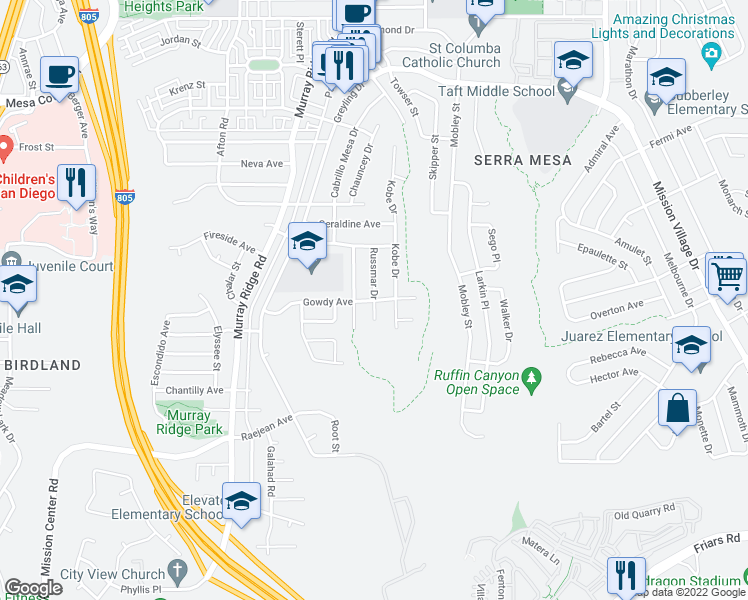 map of restaurants, bars, coffee shops, grocery stores, and more near Gowdy Ave & Russmar Dr in San Diego