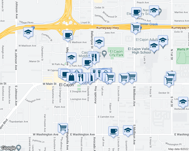 map of restaurants, bars, coffee shops, grocery stores, and more near 180 Ballantyne Street in El Cajon