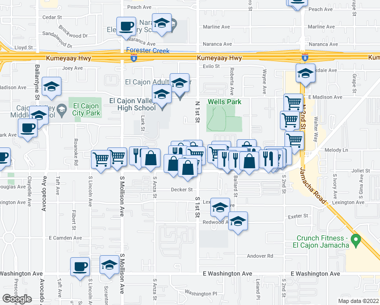map of restaurants, bars, coffee shops, grocery stores, and more near 171 N 1st St in El Cajon