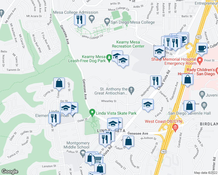 map of restaurants, bars, coffee shops, grocery stores, and more near 7053 Park Mesa Way in San Diego