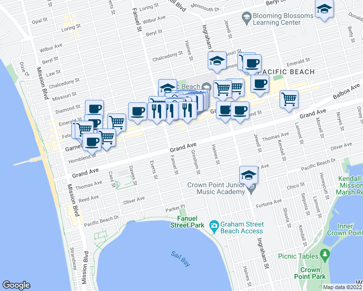 map of restaurants, bars, coffee shops, grocery stores, and more near 1344 Grand Ave in San Diego
