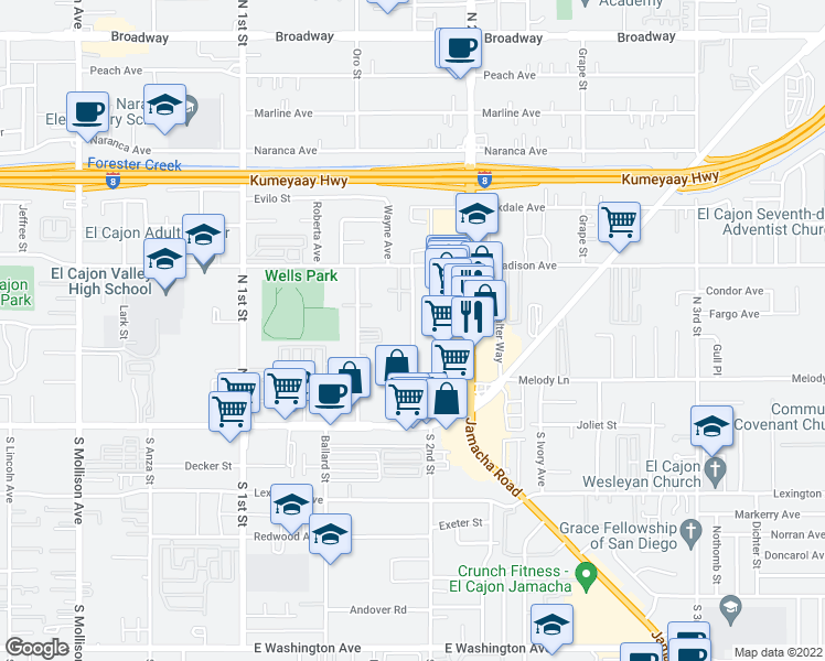 map of restaurants, bars, coffee shops, grocery stores, and more near 306 Shady Lane in El Cajon