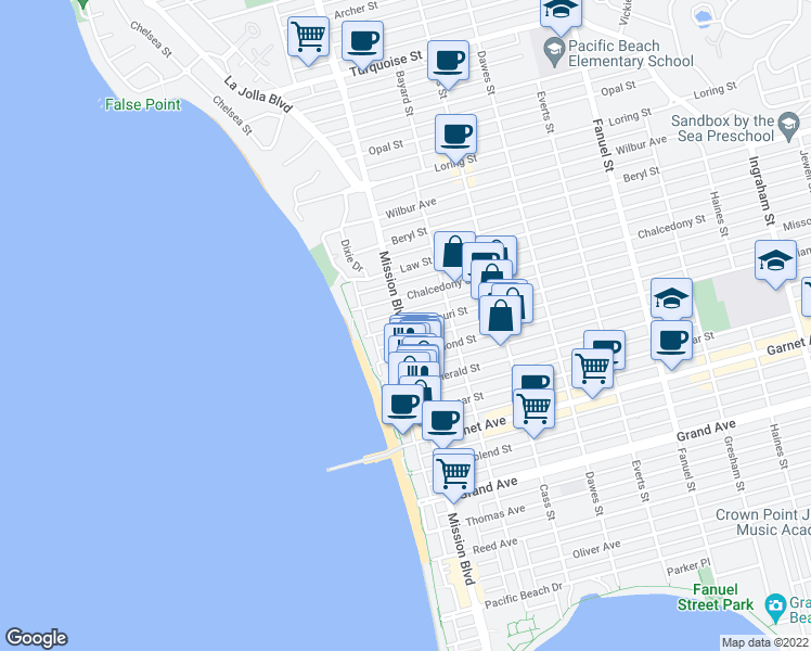 map of restaurants, bars, coffee shops, grocery stores, and more near Mission Blvd & Missouri St in San Diego