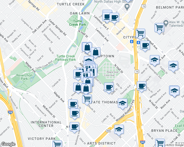 map of restaurants, bars, coffee shops, grocery stores, and more near 2815 Allen Street in Dallas