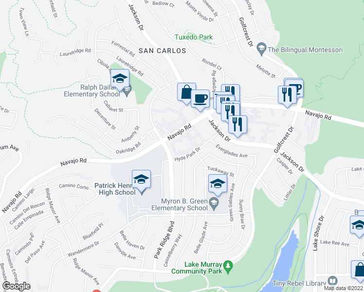 map of restaurants, bars, coffee shops, grocery stores, and more near 6844 Hyde Park Drive in San Diego