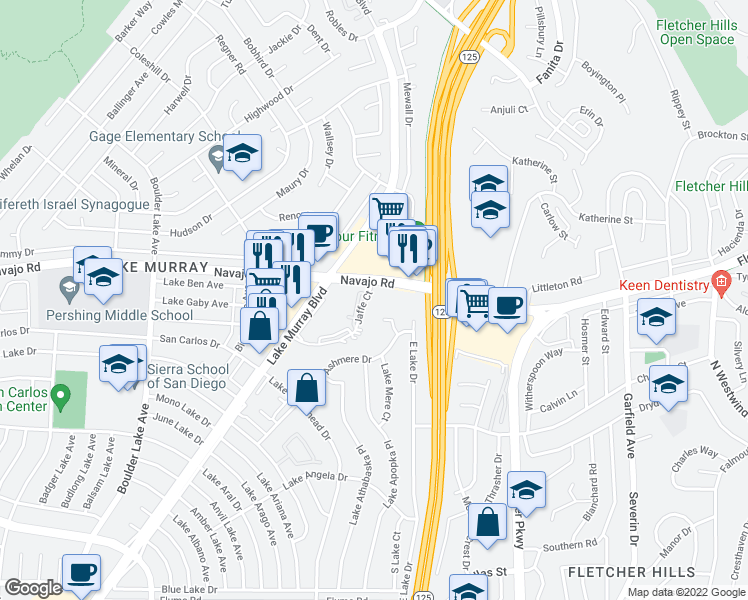 map of restaurants, bars, coffee shops, grocery stores, and more near 6572-6590 Jaffe Ct in San Diego