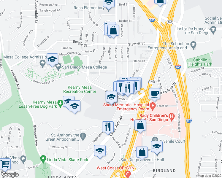 map of restaurants, bars, coffee shops, grocery stores, and more near 7440 Mesa College Dr in San Diego
