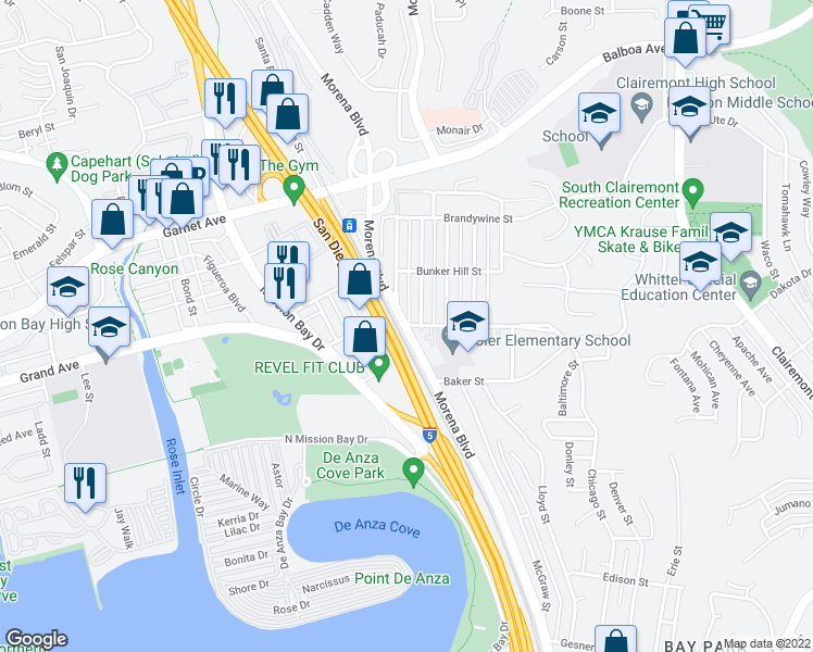 map of restaurants, bars, coffee shops, grocery stores, and more near Morena Blvd & Ticonderoga St in San Diego