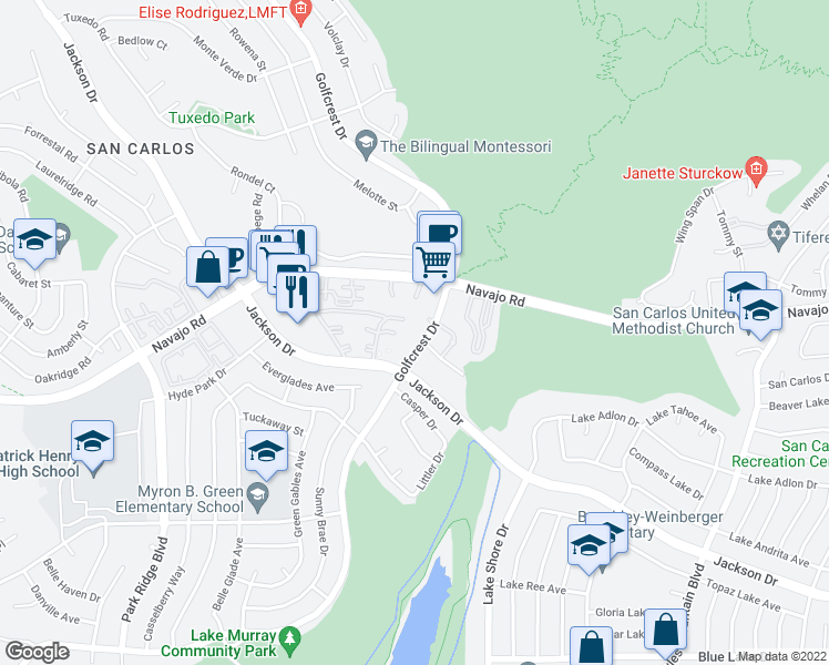 map of restaurants, bars, coffee shops, grocery stores, and more near 7301-7345 Golfcrest Pl in San Diego