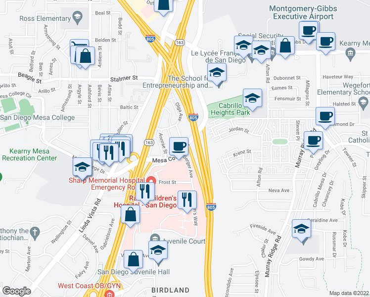 map of restaurants, bars, coffee shops, grocery stores, and more near Mesa College Drive & Berger Avenue in San Diego